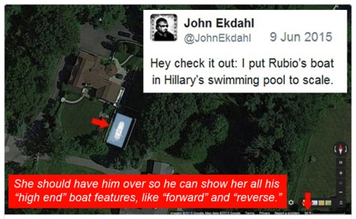 2015_06 09 Rubios boat and Hillary's swimming pool
