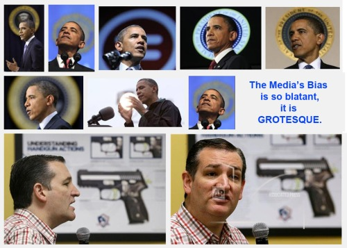 Obama halo pics vs Cruz gun pics