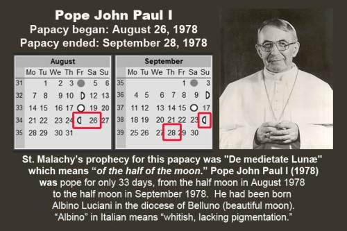 St Malachy 1978 Lunar Calendar and Pope JP I