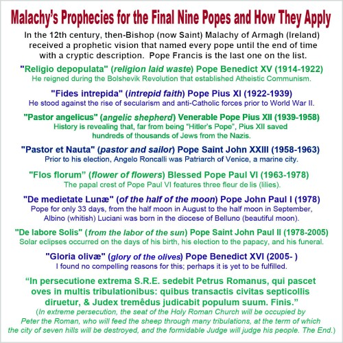 St Malachy's prophecies for last 9 popes