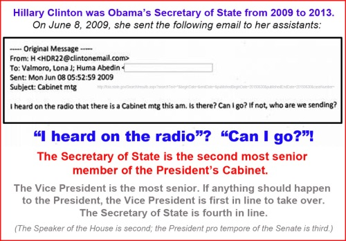 2009 Hillary asks if she can go to Cabinet mtg