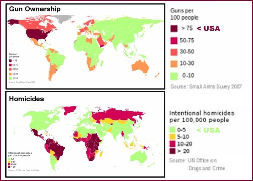 Gun Ownership v Homicides GLOBAL