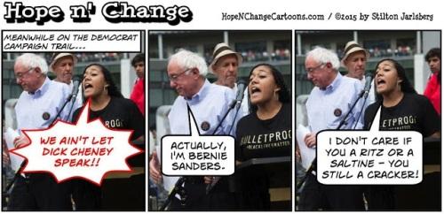 2015_08 08 Sanders rally disrupted by Hope n Change