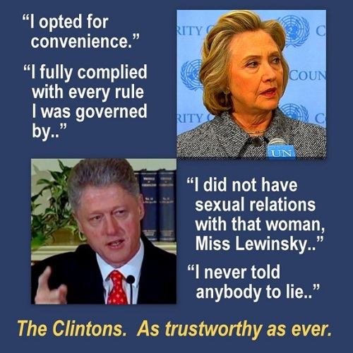 Clintons as trustworthy as ever