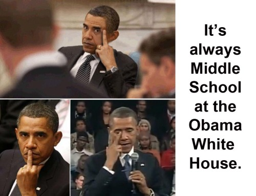 OBAMA Middle school - flip bird