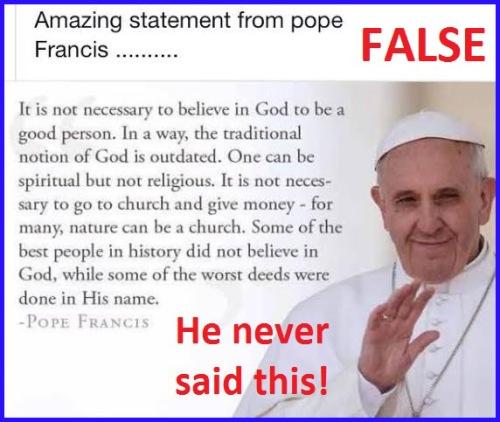 Pope Francis - false quotation