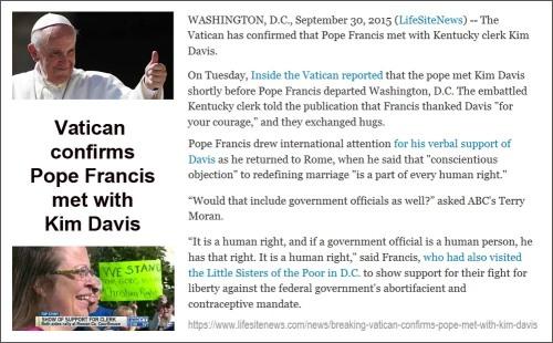 2015_09 30 Vatican confirms Kim Davis Pope meet