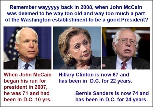 McCain Clinton Sanders