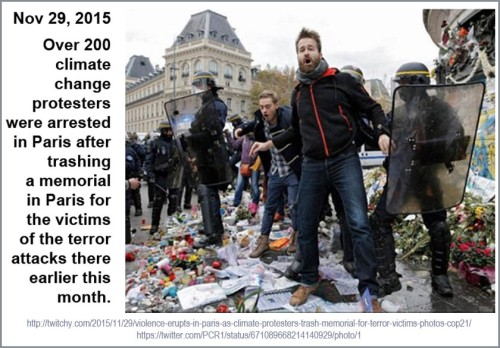 2015_11 29 Climate protesters trash Paris victim meml