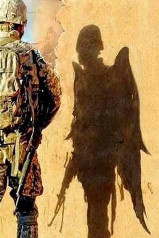 Soldier with angel shadow