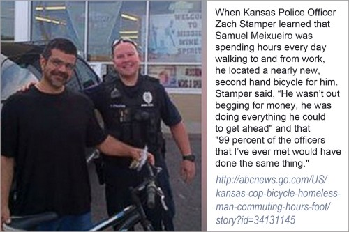 2015 Cop gives homeless man a bike