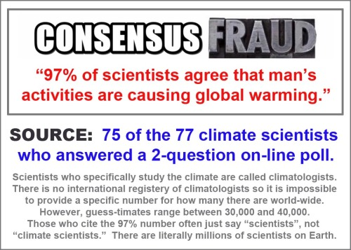 CLIMATE agw 97 percent fraud