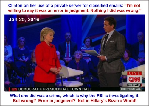 2016_01 25 Hillary's Bizarro World