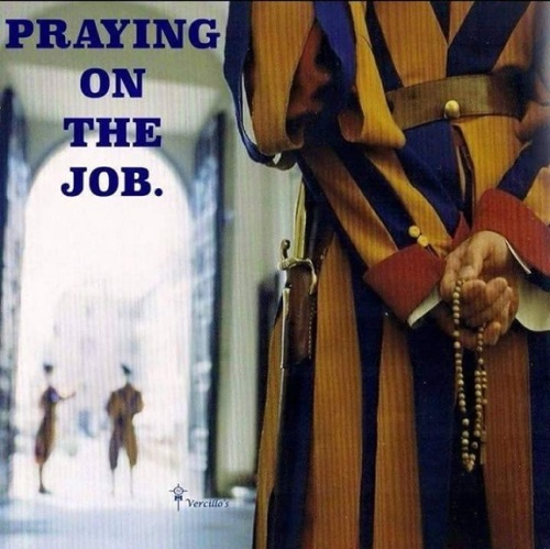 Swiss Guard praying on job