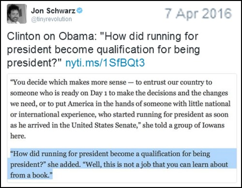 2008 Clinton sneers at Obama's quals