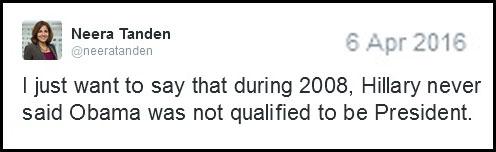 2016_04 06 Tanden tweet Hillary