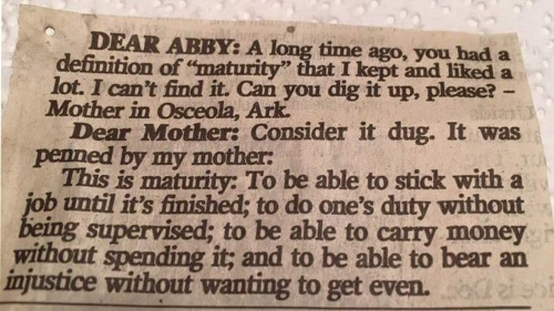 Maturity by Dear Abby's mom