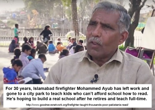 Pakistan firefighter teaches reading in park