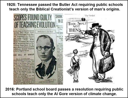 2016 and 1925 Climate and evolution in public schools