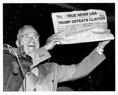 President Harry Truman holds up a copy of the Chicago Daily Tribune declaring his defeat to Thomas Dewey in the presidential election, St Louis, MIssouri, November 1948. (Photo by Underwood Archives/Getty Images)