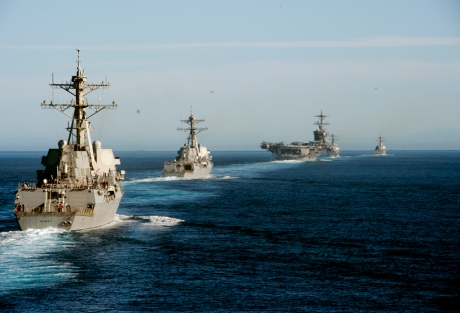 161104-N-FT178-025 PACIFIC OCEAN (Nov. 4, 2016) Left to right, USS Dewey (DDG 105), USS Wayne E. Meyer (DDG 108), USS Carl Vinson (CVN 70), USS OÕKane (DDG 77) and USS Sterett (DDG 104) participate in a show of force transit training exercise. Carrier Strike Group One is underway conducting Composite Training Unit Exercise in preparation for a future deployment. (U.S. Navy photo by Petty Officer 2nd Class Nathan K. Serpico/ Released)