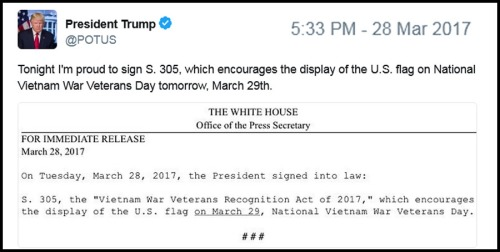 2017_03 28 Trump signs Vietnam Vet bill