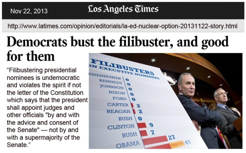 2013_11 22 LA Times on filibuster busting