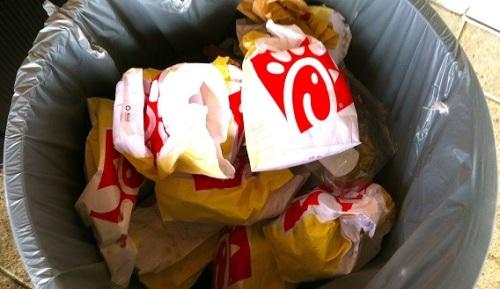 Chick-Fil-A in trash