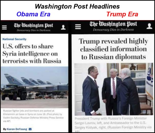 WaPo headlines Obama v Trump