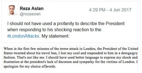 2017_06 04 Reza Aslan's apology