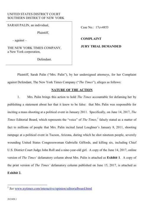 2017_06 Palin suing NYT