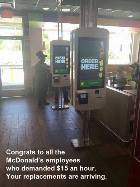 MINIMUM WAGE McD's machines
