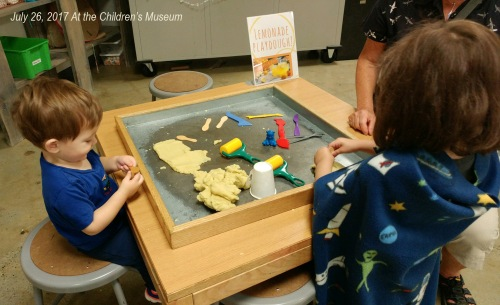 2017_07 26 Alex Alessia at Children's Museum dough