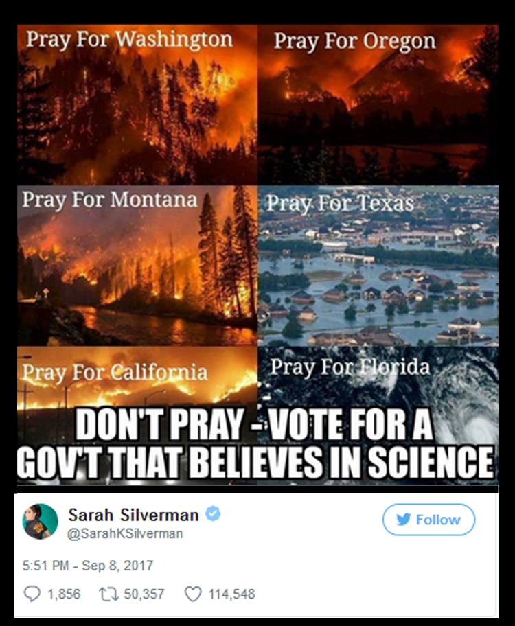2017_09 08 silverman dont pray meme?w=500 betcha satan loves sarah silverman's hurricane meme