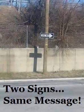 Two signs Same message