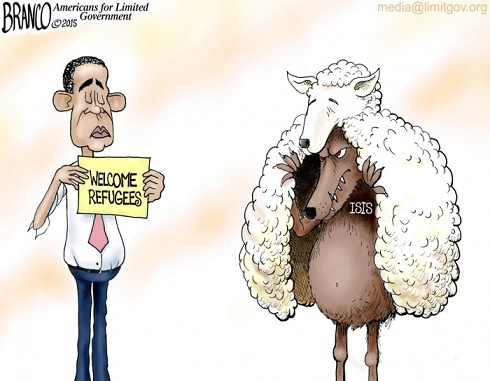 REFUGEES ISIS wolf by Branco toon