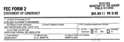 2018_01 11 Chelsea Manning Senate cand filing