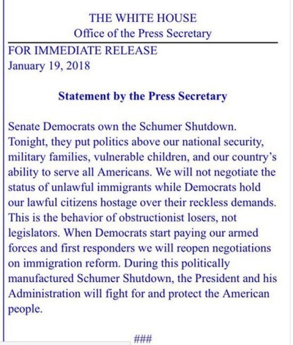 2018_01 19 WH statement on shut down