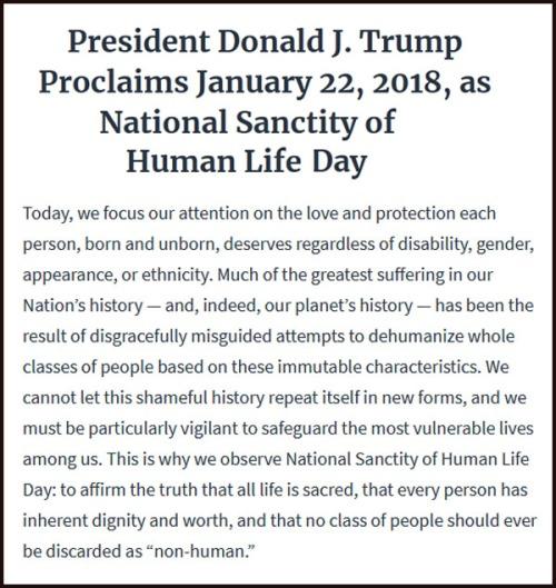 2018_01 22 Natl Sanctity of Human Life Day