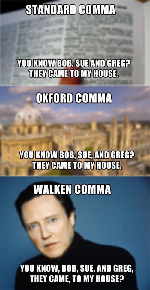Comma standard oxford walken