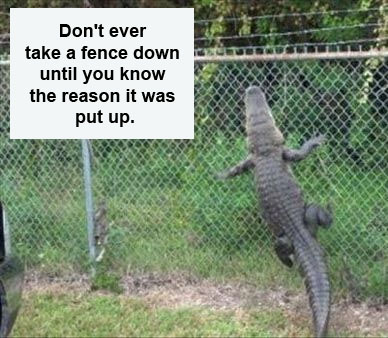 Don't ever take a fence down until you know the reason it was put up
