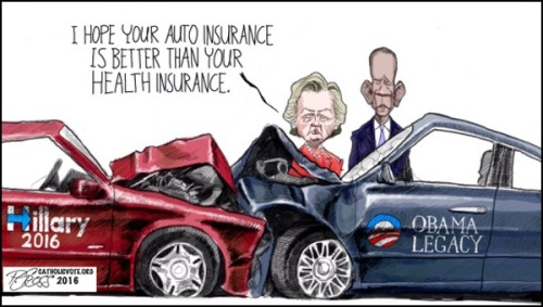 2016 Hillary meets Obama Legacy car crash toon