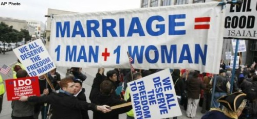 Marriage protest signs