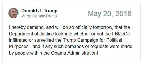 2018_05 20 Trump tweet