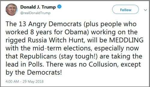 2018_05 29 Trump tweet