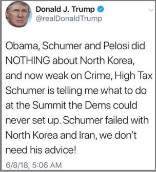 2018_06 08 Trump tweet - we don't need Schumer