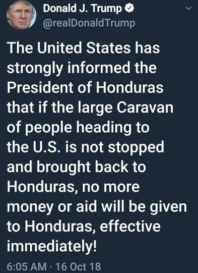 2018_10 16 Trump tweet Honduras
