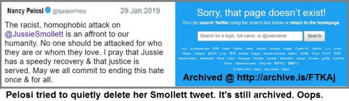 2019_01 29 Pelosi Smollett tweet