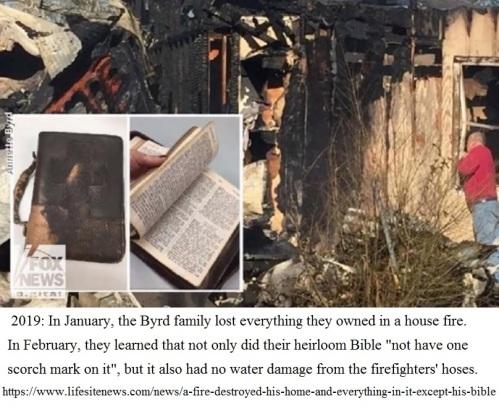 2019 Bible survives fire