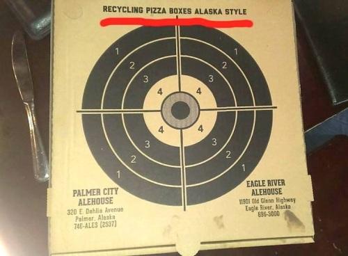 PIZZA Recycling pizza boxes Alaska style